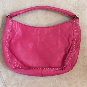 Ann Taylor leather pink wild stitch bag